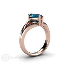 14K Rose Gold Split Shank Setting Marquise Solitaire Topaz Ring