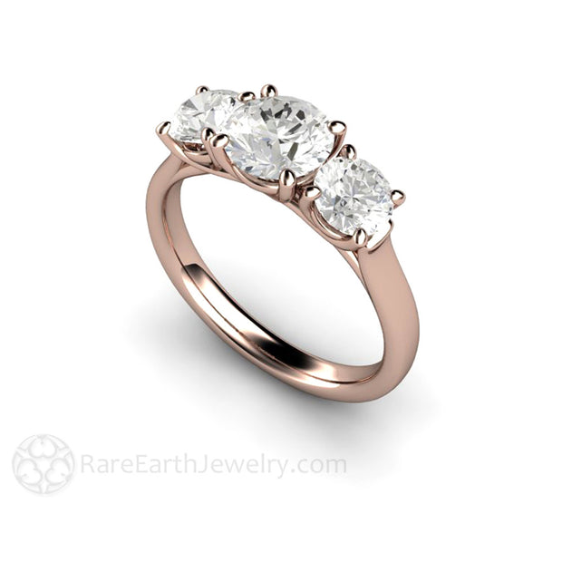 14K Rose Gold Three Stone Moissanite Anniversary Ring Rare Earth Jewelry