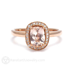 Rare Earth Jewelry Cushion Morganite Halo Engagement Ring