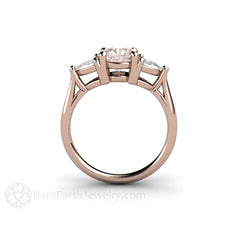 Three Stone Pink and White Sapphire Ring Rose Gold Setting Rare Earth Jewelry