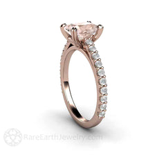 Morganite Bridal Ring with Diamond Accents Cushion Cut Rare Earth Jewelry