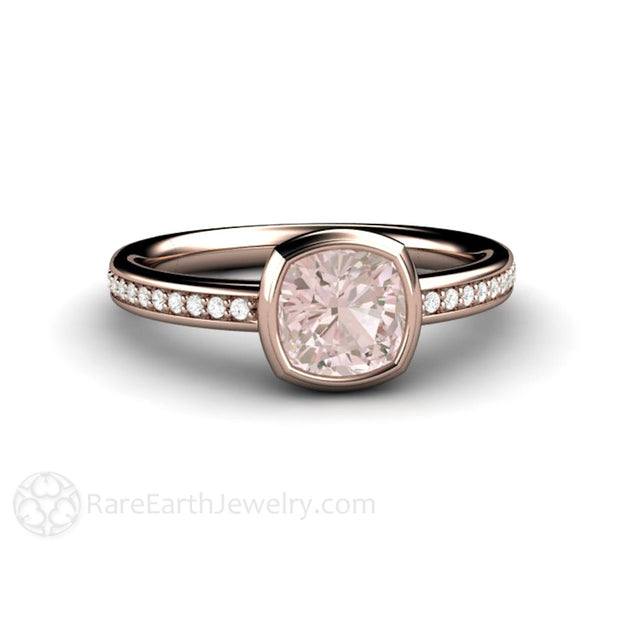 Rose Gold Pink Sapphire and Diamond Mothers Ring Bezel Cushion Solitaire Rare Earth Jewelry