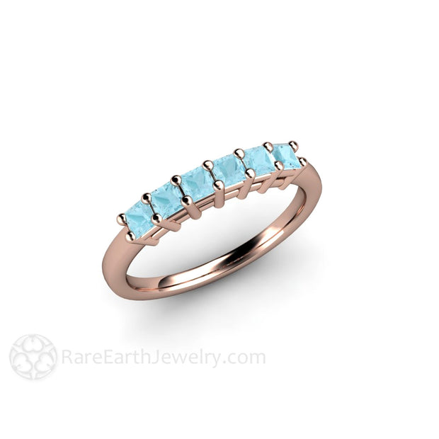 14K Rose Gold Princess Cut Aqua Ring Rare Earth Jewelry