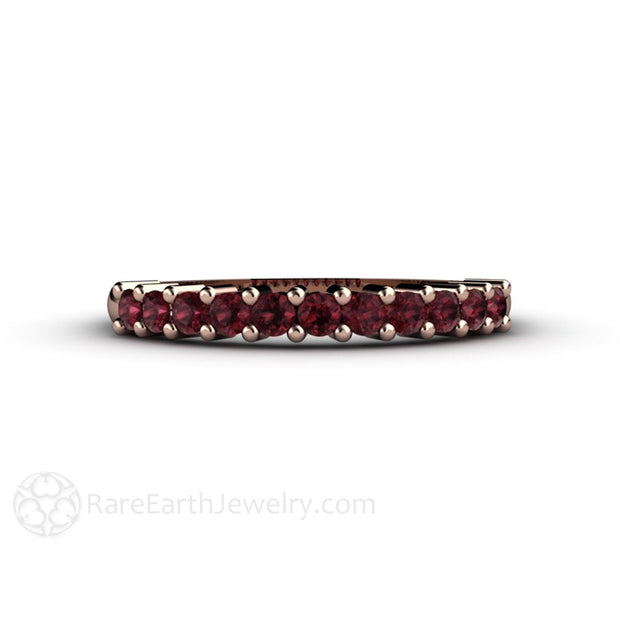 Rare Earth Jewelry Red Garnet Stacking Ring Stackable Band 14K Rose Gold