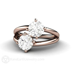 Rose Gold Moissanite Ring Round Cut Double Stone 2 CTW