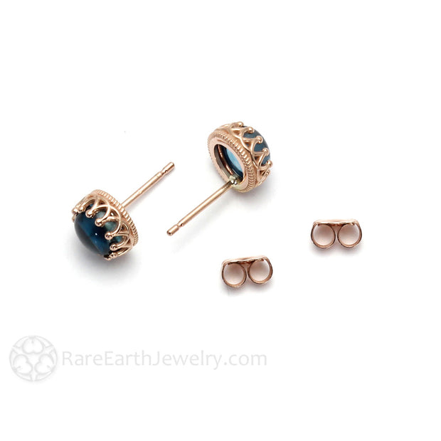 6MM Cab Topaz Stud Earrings 14K Gold Rare Earth Jewelry