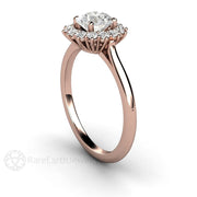 Round 6mm GIA Diamond Wedding Ring Cluster Halo 14K Rose Gold Rare Earth Jewelry