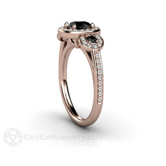 Halo Black Diamond Wedding Ring 14K Rose Gold Rare Earth Jewelry