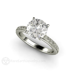 Forever One Moissanite Promise Ring 14K White Gold Vintage Solitaire Design Rare Earth Jewelry