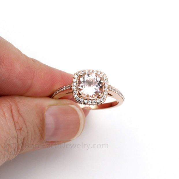 Rare Earth Jewelry 2ct Morganite Engagement Ring on Finger Diamond Halo