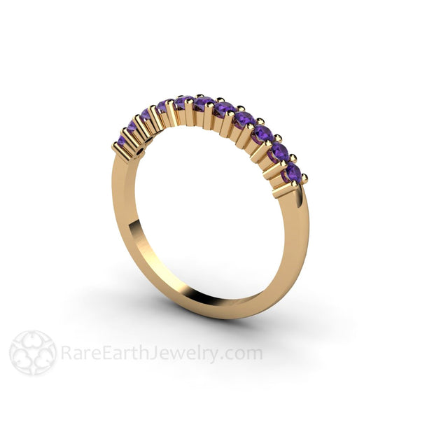 Amethyst Stackable Ring 14K Yellow Gold Band Rare Earth Jewelry