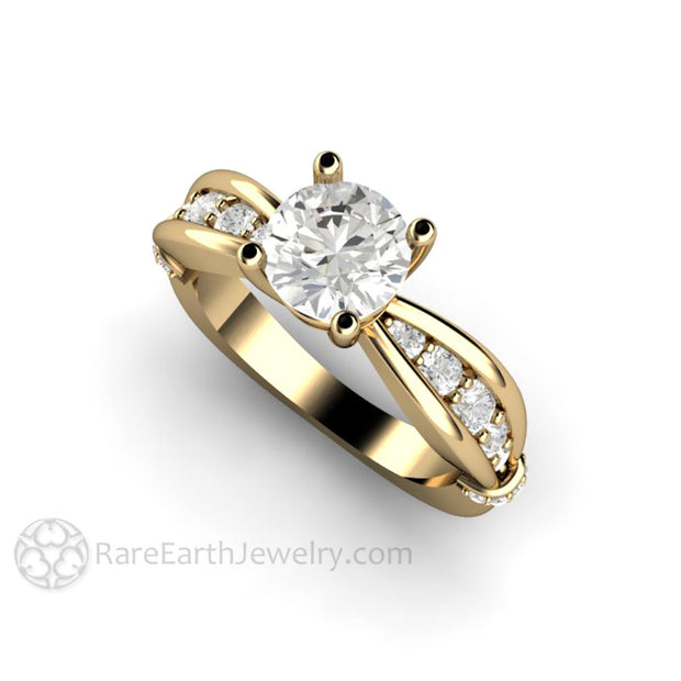 Rare Earth Jewelry 14K Moissanite Ring Diamond Accented Band 1 Carat Round Forever One Moissanite Center Stone