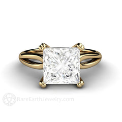 3ct Princess Moissanite Ring 14K Double Prong Solitaire Rare Earth Jewelry