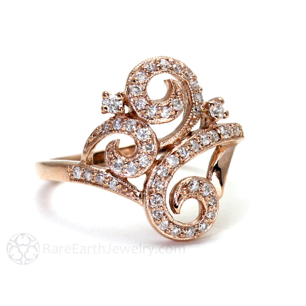 Rare Earth Jewelry Vintage Style Diamond Ring Milgrain Detail 14K or 18K