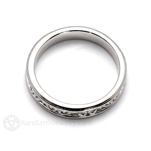 Antique Style Wedding Band 4mm with Filigree Scroll Pattern