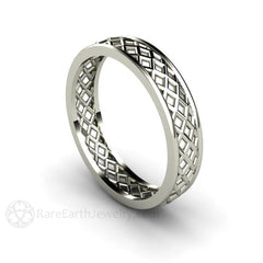 His and Hers 14K White Gold Wedding Ring 5mm Woven Rare Earth Jewelry