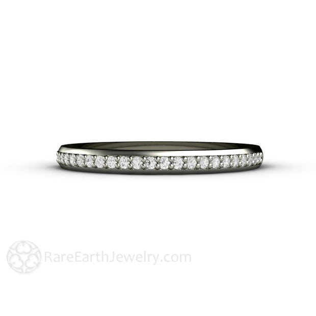 14K White Gold Diamond Stacking Band April Birthstone Ring Rare Earth Jewelry