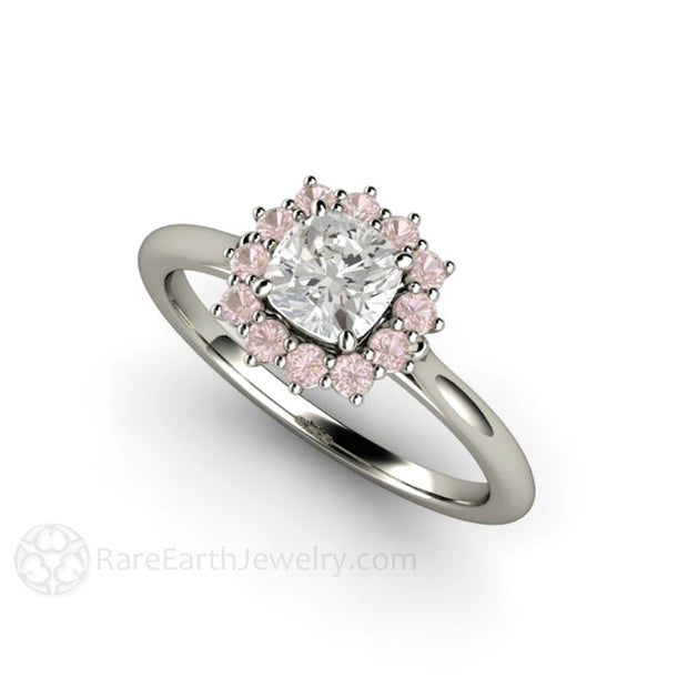 Rare Earth Jewelry Platinum GIA Diamond Wedding Ring Pink Halo