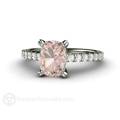 14K White Gold Morganite Solitaire Ring with Diamonds Cushion Cut Natural Pink Gemstone Rare Earth Jewelry