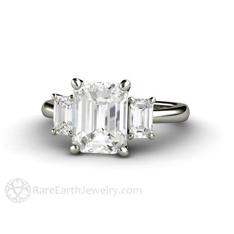 2.5ct Emerald Cut 3 Stone Moissanite Engagement Ring