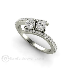 14K White Gold Diamond Bridal Ring Round Cut Two Stone Bypass Rare Earth Jewelry