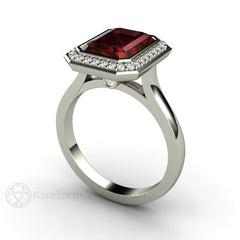 Rare Earth Jewelry Platinum Garnet Ring Emerald Cut Natural Gemstone Diamond Halo Accents