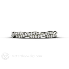 18K White Gold Diamond Infinity Promise Ring Rare Earth Jewelry