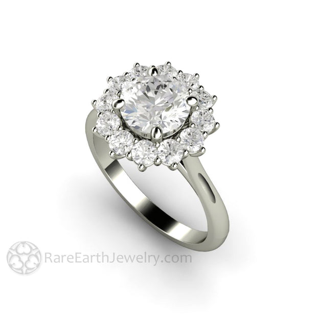 Rare Earth Jewelry White Gold Moissanite Halo Wedding Ring Conflict Free Diamond Alternative Bridal Jewelry