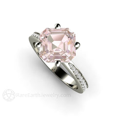 Rare Earth Jewelry Asscher Morganite and Diamond Bridal Ring White Gold