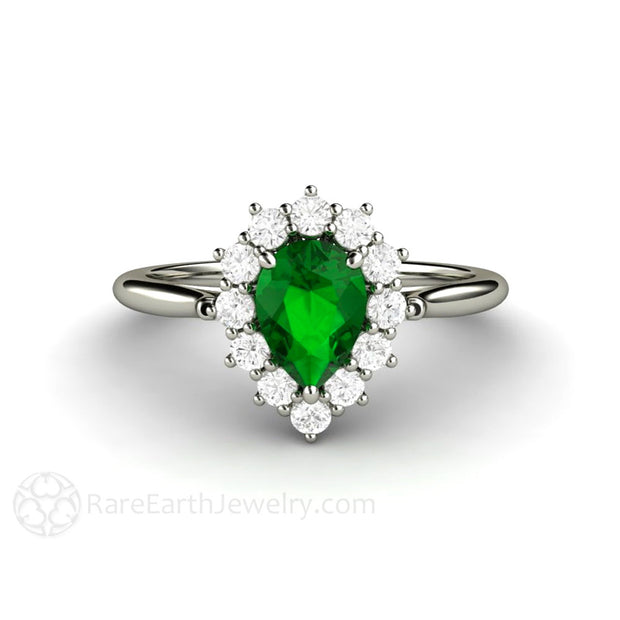 Rare Earth Jewelry Tsavorite Garnet Ring Pear Shaped Diamond Halo