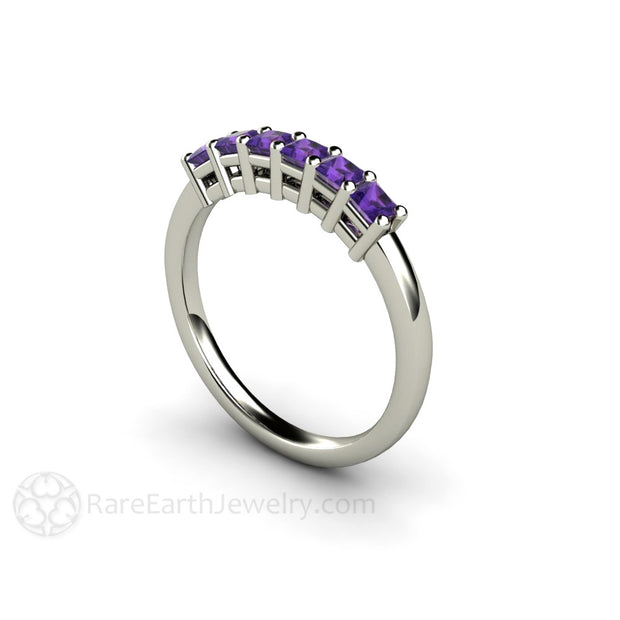 14K White Gold Amethyst Stackable Ring Rare Earth Jewelry