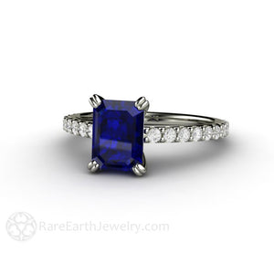 Rare Earth Jewelry Emerald Cut Blue Sapphire Engagement Ring Solitaire with Diamonds