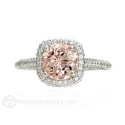 Rare Earth Jewelry Morganite Anniversary Ring 14K White Gold