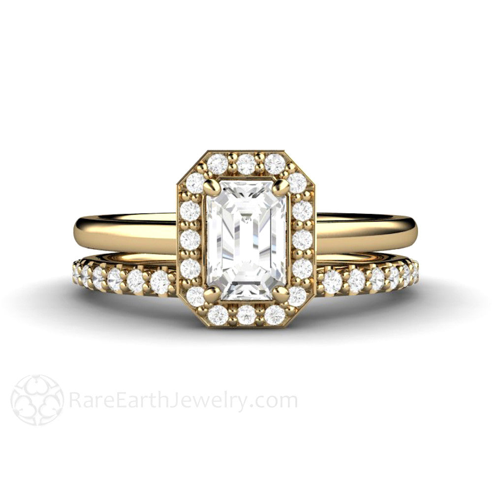 Rare Earth Jewelry Emerald Cut White Sapphire Wedding Ring Set 14K