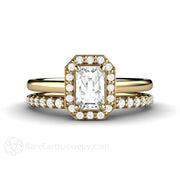Rare Earth Jewelry Emerald Cut White Sapphire Wedding Set 14K Gold Diamond Accents