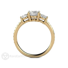 Oval 3 Stone Moissanite Bridal Ring with Diamond Accent Stones Rare Earth Jewelry