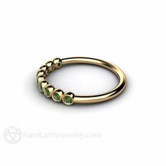 Bezel Round Cut Natural Green Diamond Ring 14K Yellow Gold Rare Earth Jewelry