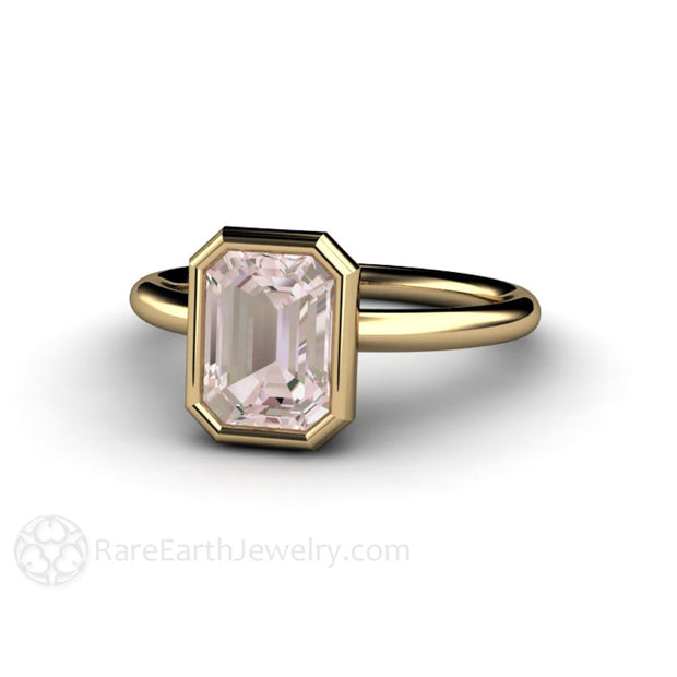 14K Yellow Gold Emerald Morganite Right Hand Cocktail Ring Ring Rare Earth Jewelry