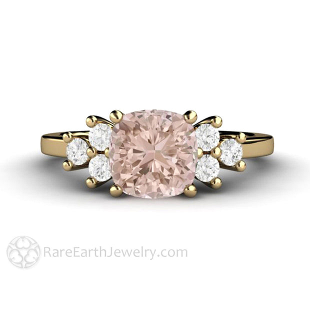 Rare Earth Jewelry Pink Morganite and Diamond Bridal Ring Cushion Cut 14K Yellow Gold