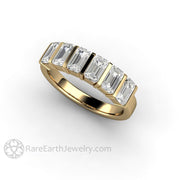 Emerald Cut Moissanite in 14K Yellow Gold Charles and Colvard Affordable Diamond Alternative Wedding Ring