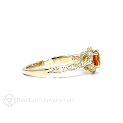 Vintage Style Orange Sapphire Halo Ring 14K Yellow Gold Rare Earth Jewelry