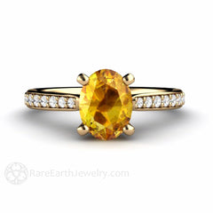 14K Oval Yellow Sapphire Wedding Ring Rare Earth Jewelry