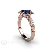 Rose Gold Vintage Blue Sapphire Ring Rare Earth Jewelry