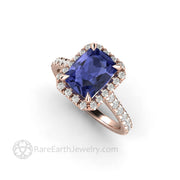18 Karat Rose Gold Tanzanite Ring Cushion Cut Diamond Accented