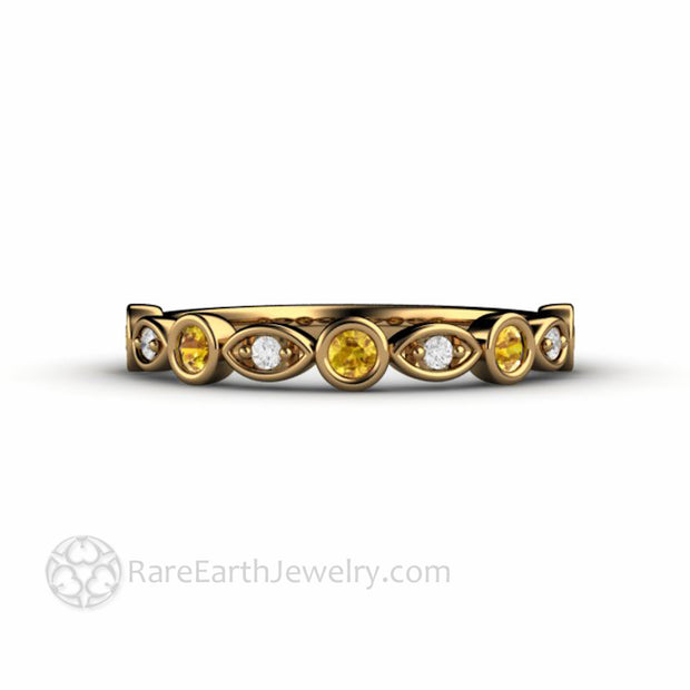 18K Gold Yellow Sapphire Anniversary Band with Diamonds Stackable Ring - Rare Earth Jewelry