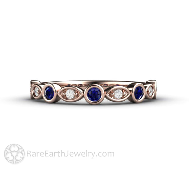 Rose Gold Sapphire Wedding Band Rare Earth Jewelry