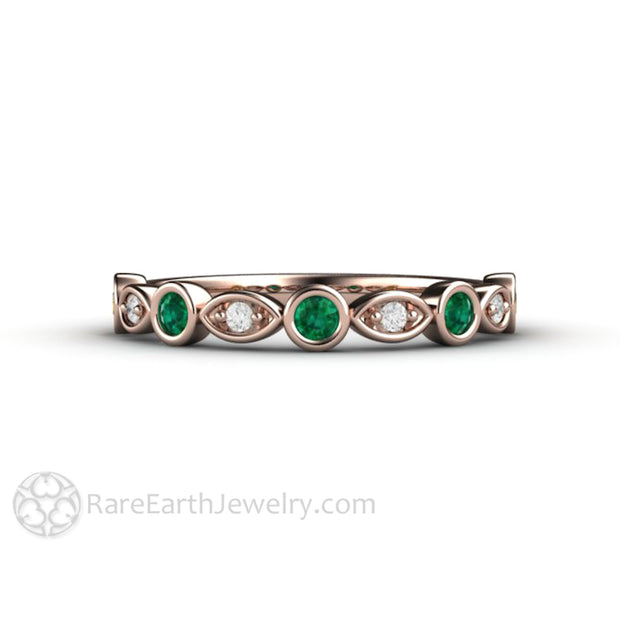 18K Rose Gold Wedding Ring with Green Emerald and Diamond Accent Stones Rare Earth Jewelry