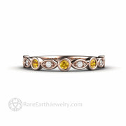 18K Rose Gold Yellow Sapphire Ring with Diamonds - Rare Earth Jewelry