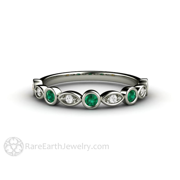 18K White Gold Emerald Wedding Band Stackable Bezel with Round Cut Diamonds Rare Earth Jewelry