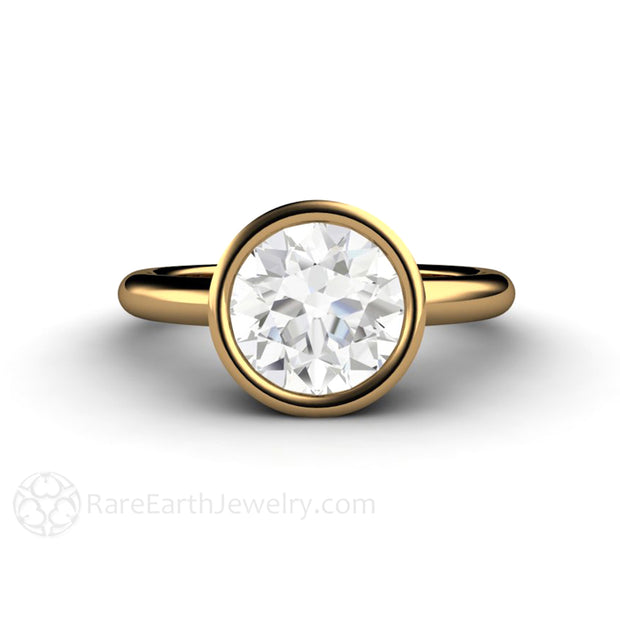 18K Yellow Gold Engagement Ring Without Diamond Round Bezel Ethical Bridal Lab Diamond by Rare Earth Jewelry
